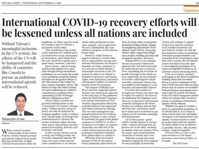 """International COVID-19 recovery efforts will be lessened unless all nations are included"" on The Hill Times"